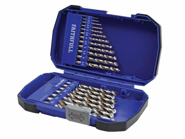 Faithfull - Jeu de forets HSS en cobalt M35 1-10mm, 19 pièces