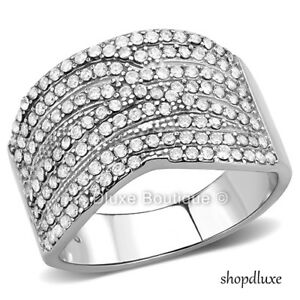 WOMEN-039-S-ROUND-CUT-CZ-STAINLESS-STEEL-WIDE-BAND-FASHION-RING-SIZE-5-6-7-8-9-10