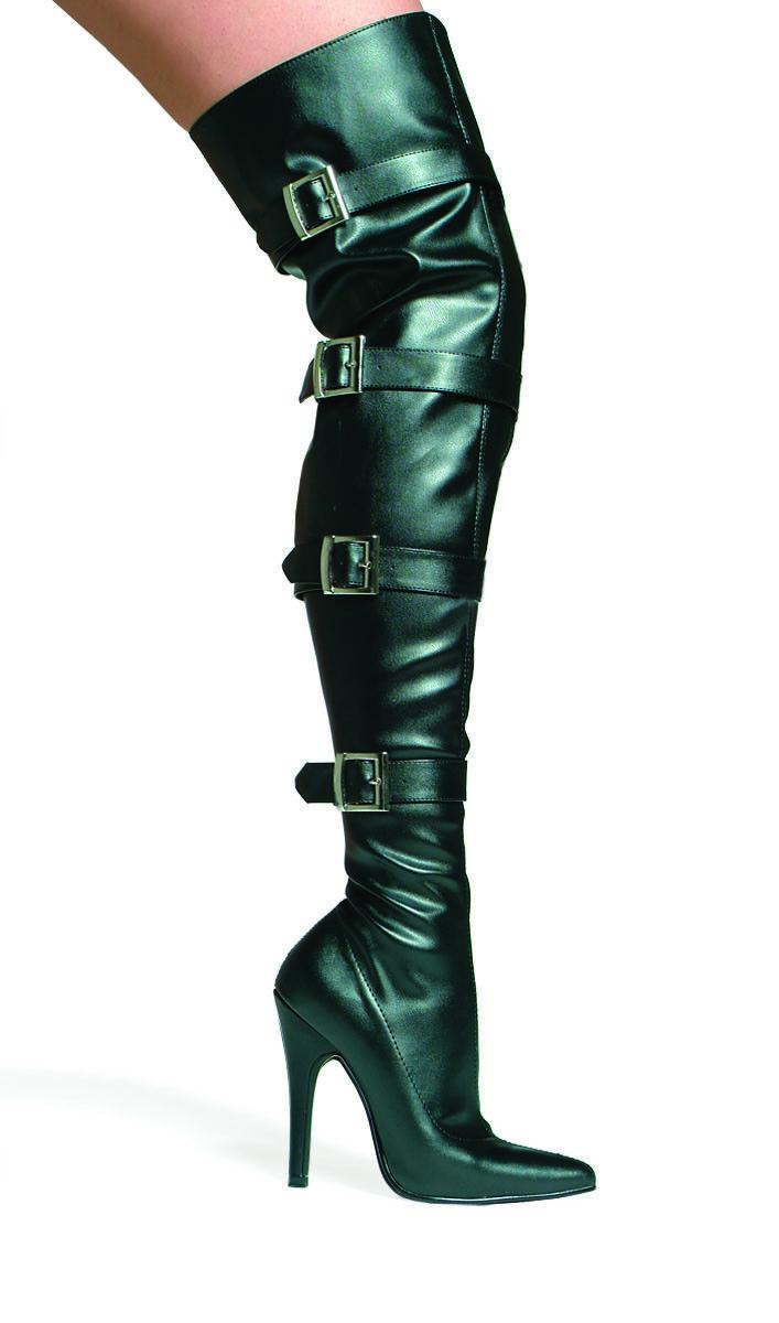 Black Thigh High Boots Buckle Detail Inner Zipper 5