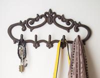 Cast Iron Wall Hanger – Vintage Design With 5 Hooks - Keys, Towels, Etc -