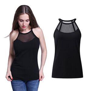 c7f331b46902bd Women Sleeveless Off Shoulder Tank Tops Mesh Blouse Shirt Cami Vest ...