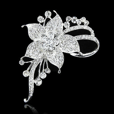 High-grade clear crystal brooches Wedding bouquet silver brooch clothes pins
