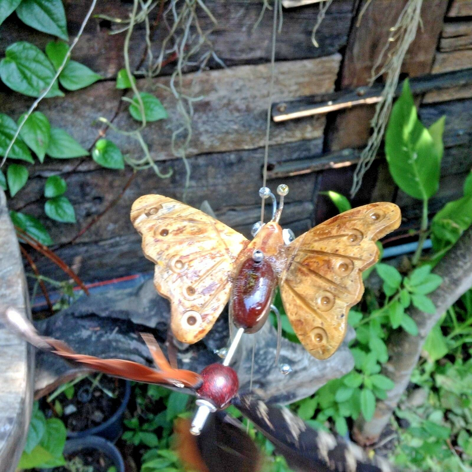 Hanging wind spinners patio wooden animal statue wind chime home decor Butterfly