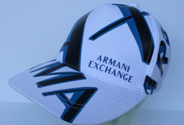 f2ff083eeb8 Buy Men s Armani Exchange Logo All Over White Blue AX Baseball ...