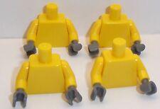 Lego Yellow Torso's x 4 with Dark Stone Grey Hands for Miinifigure