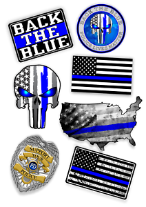 Details about Police Sticker Mega Pack BlueThin Line USA Flag Decal  American Flag 7 Stickers