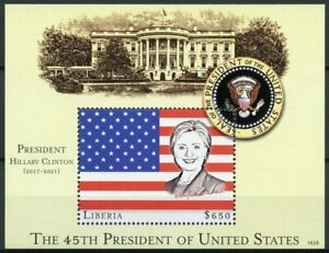 Liberia US Presidents Stamps 2016 MNH Hillary Clinton ERROR Famous People 1v S/S
