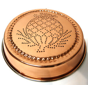 "Vtg. Copper Punched Pineapple 8.75"" Pan Wall Hanging Jello Cake Mold Kitchenware"