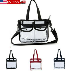 Clear-Plastic-Tote-Bag-Women-Transparent-Handbag-Zip-Purse-NFL-Stadium-Security