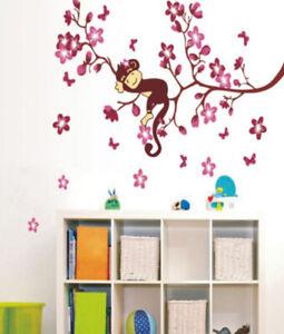 Details zu Wandaufkleber Wandtattoo Wandsticker pink Affe Schaukel  Kinderzimmer WAG-063