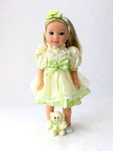 4c944707313e9 Details about Green And Yellow Dress Bear Fits Wellie Wisher 14.5