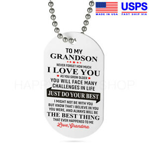 Image Is Loading Grandma Amp Grandson Dog Tag Birthday Gift For