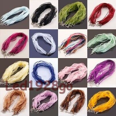 10Pcs Lots Organza Voile String Ribbon Cord 18'' Necklace Lobster Clasp Chain