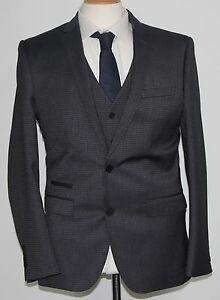 Vornehm Men's 3pc Charcoal Small Check Suit 40r .. Sample 149