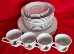 image is loading vintage christmas dinnerware set 20 pc porcelain gold