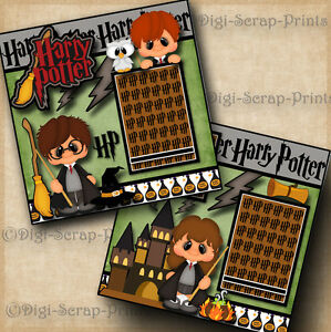 HARRY POTTER ~ 2 premade scrapbooking pages paper piecing layout ~ BY DIGISCRAP
