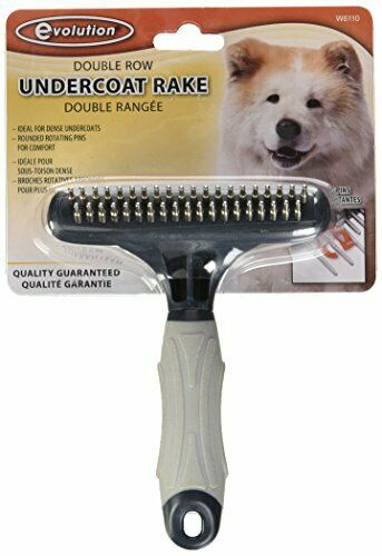 Double Row Pet Undercoat Brush w// Rotating Pins for Dogs w// Thick /& Heavy Coat