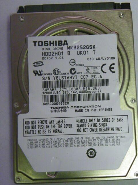 A0//LV010M HDD2H01 B UK01 T MK3252GSX Toshiba 320GB SATA 2.5 Hard Drive
