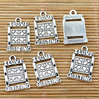 12pcs Tibetan silver I LOVE QUILTING charms EF1684