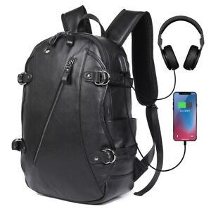 Mens-Genuine-Leather-Backpack-15-6-034-Laptop-Bag-Travel-School-Bags-Rucksack-Black