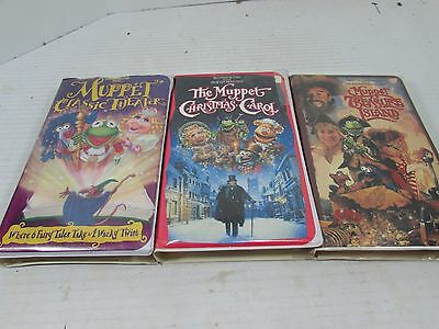 VHS Lot of 3 The Muppets Christmas Carol 1993 Muppet ... The Muppet Movie Vhs 1994