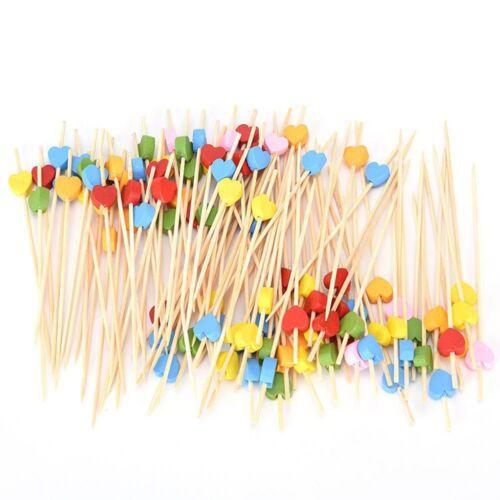 100pcs en forme de cœur Bambou Fruit Fork cure-dents Brochette dessert Food Picks Stick