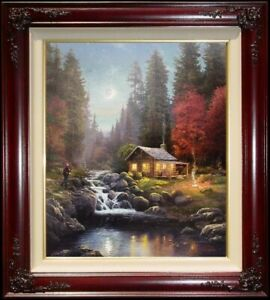 Thomas-Kinkade-Away-From-It-All-24-x-20-A-P-Canvas-Brandy-Frame