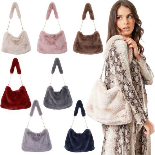 New Chain Strap Synthetic Fur Slouchy Shoulder Bag Handbag