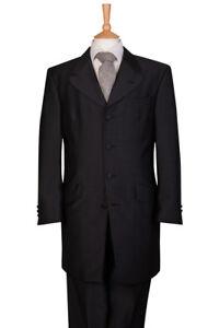 Hommes Gris Foncé 2 Pièces Mariage 3 4 Robe Longue Veste de Costume ... 2961ac74477