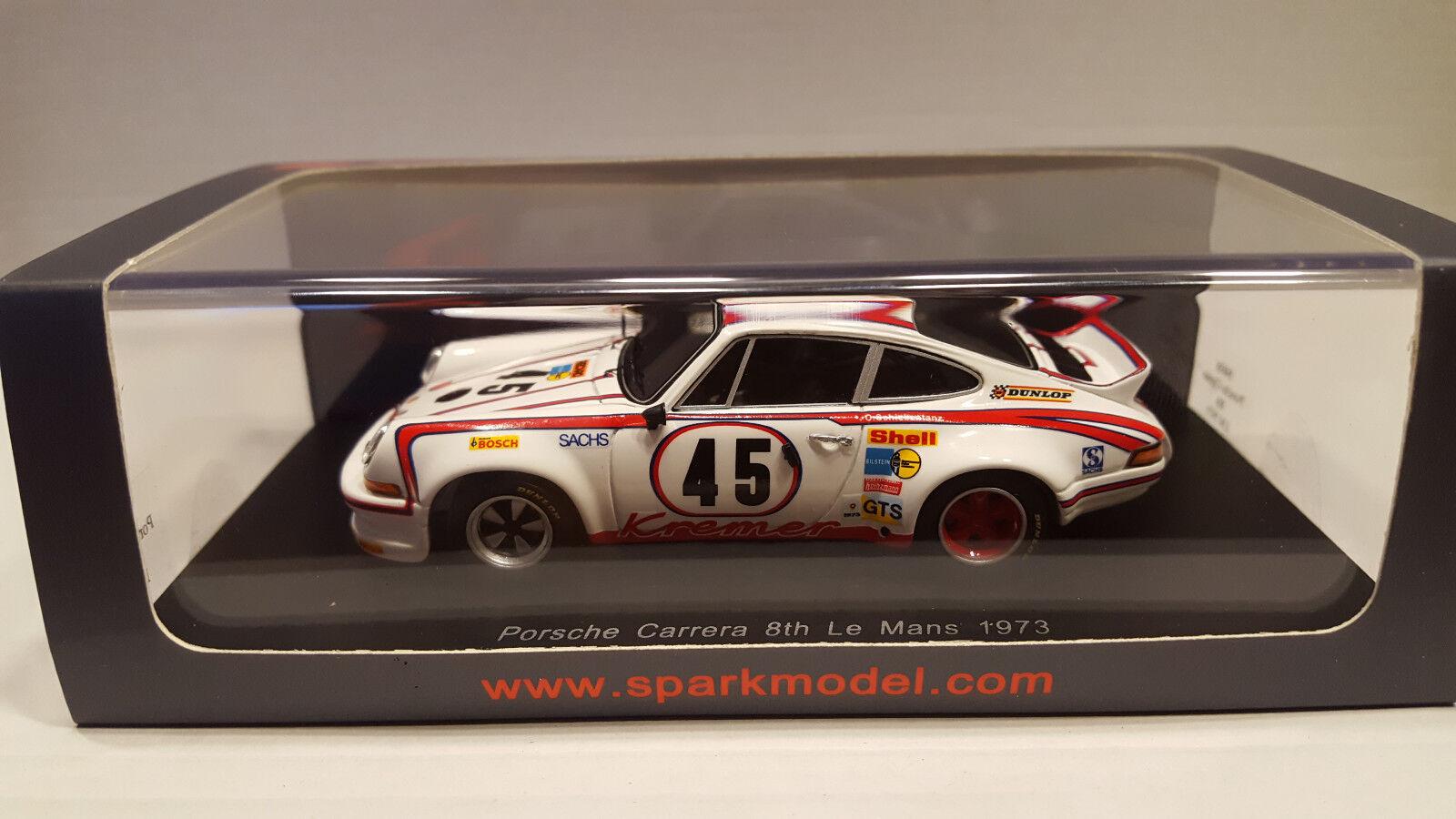 SPARK 2017 Porsche 1973 CARRERA NR 45 8th Le Mans Blanc vitrinenbox
