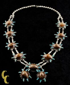Navajo-Brown-Speckled-Shell-amp-Turquoise-Sterling-Silver-Naja-Necklace