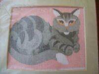 Needlepoint Long Stitch Kit Tabby Cat Wool Yarn 4x4.25 Pink Gray Nip 14ct Canvas