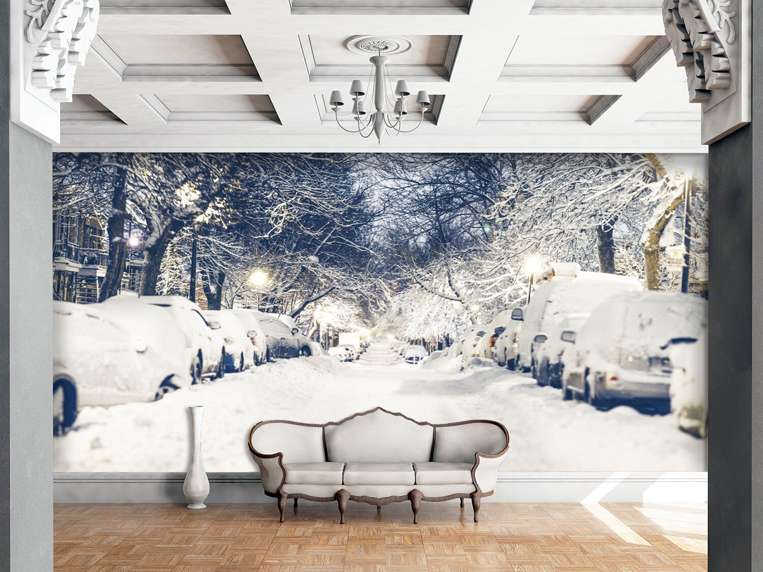 3D snow car Branches Wall Paper Print Decal Wall Deco Indoor wall Mural