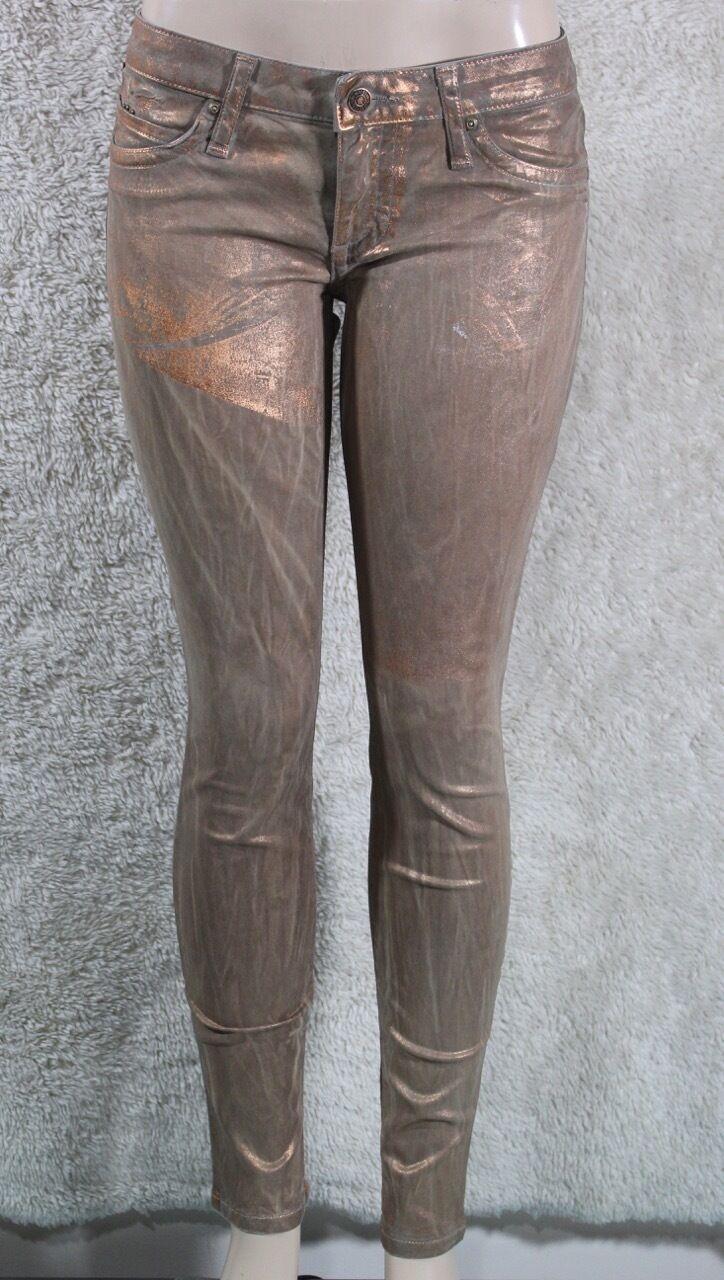 New Women's Robin's Jean Skinny Stretch Jeans SZ 29 gold Copper Coated USA