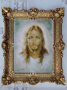 Peintures-de-Carlo-Parisi-Jesus-Christ-photo-murale-avec-cadres-baroque-56x46cm