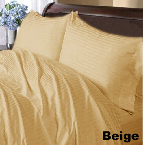 1000 TC New Egyptian Cotton Extra Deep Fitted Sheets Stripes /& Pillow Cases KING
