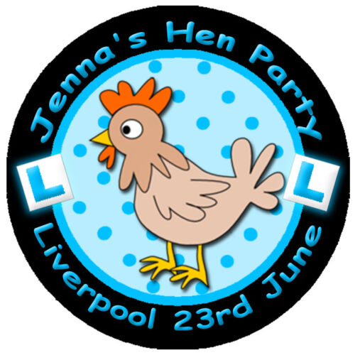 ANY COLOURS Personalised HEN Night Party Bag Stickers Labels with L-Plates