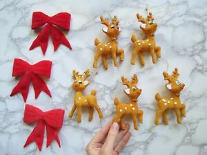 Flocked-Deer-Ornaments-Vintage-Christmas-Figurines-Plastic-Kitschy-Bows-Doe-Fawn