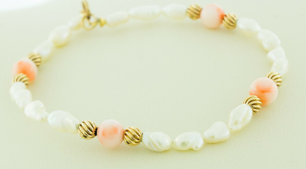 14K Yellow gold Spacer Beads with Pink Coral & South Sea Pearls Bracelet 6.5-7