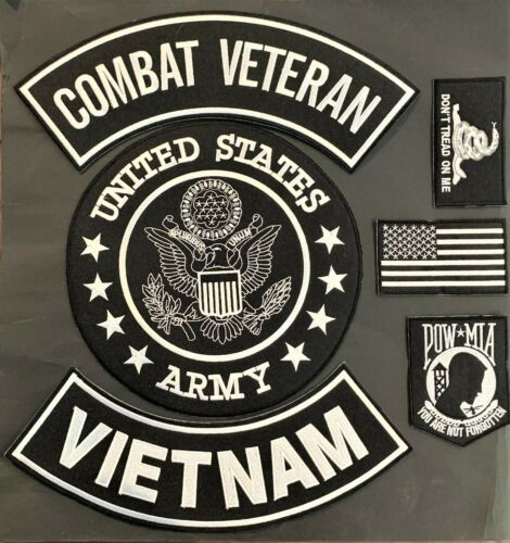 US ARMY SEAL VIETNAM COMBAT VETERAN MILITARY MOTORCYCLE VEST LOT OF 6 PATCHES