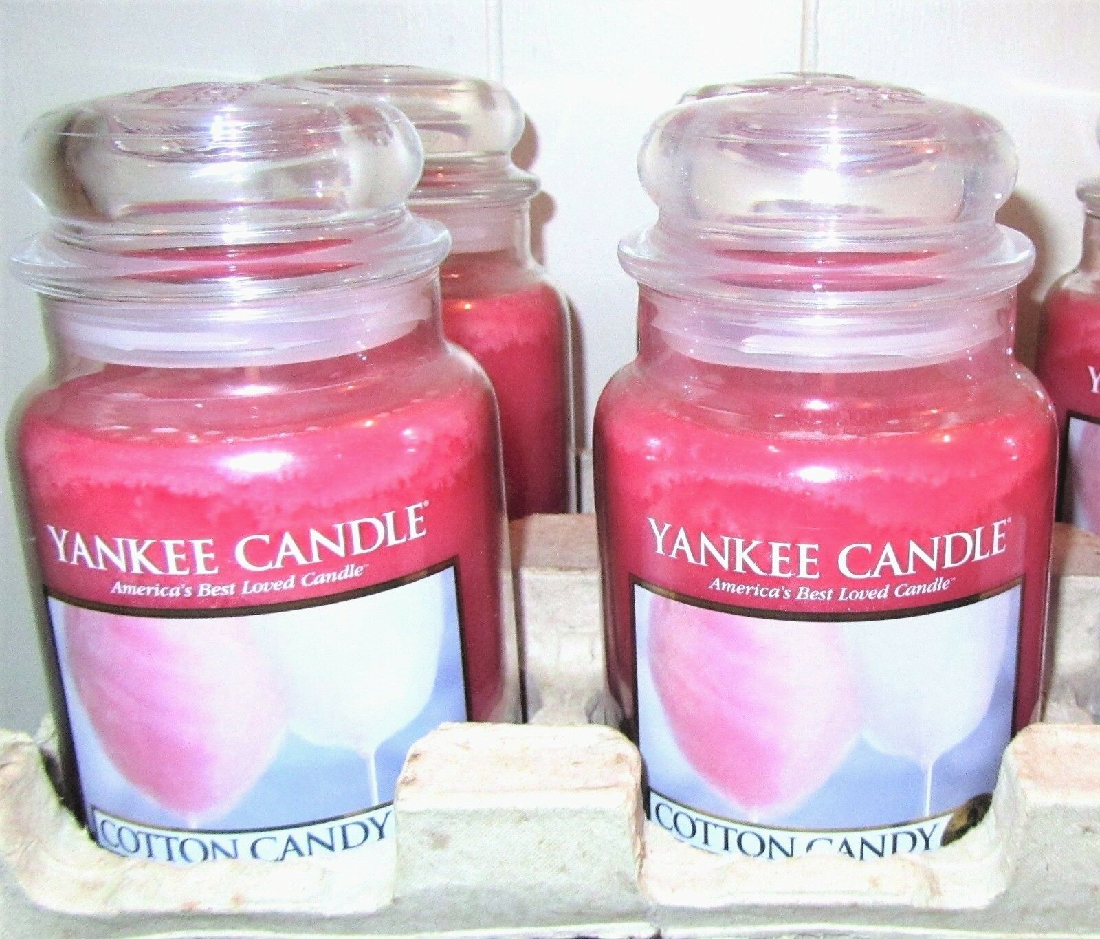 LOT OF 4 Yankee Candle  COTTON CANDY   Large 22 oz.  TAN LABEL NEW