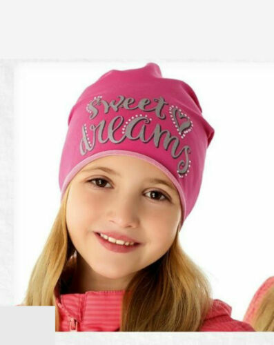 Girls Toddlers Spring Autumn Cotton Elastic Beanie Hat Scarf Size 9 mths-8 years