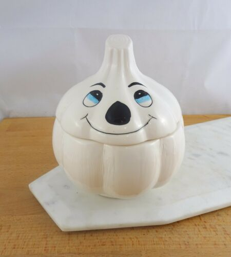 Cute Vintage Anthropomorphic Ceramic Garlic Keeper Storage Container with Lid