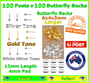 100x Butterfly Backs NEW 100x Earring Stud 4mm x 1.2cm Pad Posts Post Findings