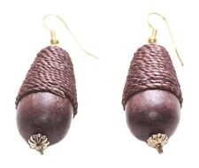 Gorgeous & chic-brown droplet beads & string /golden hook wooden earrings(ZX278)