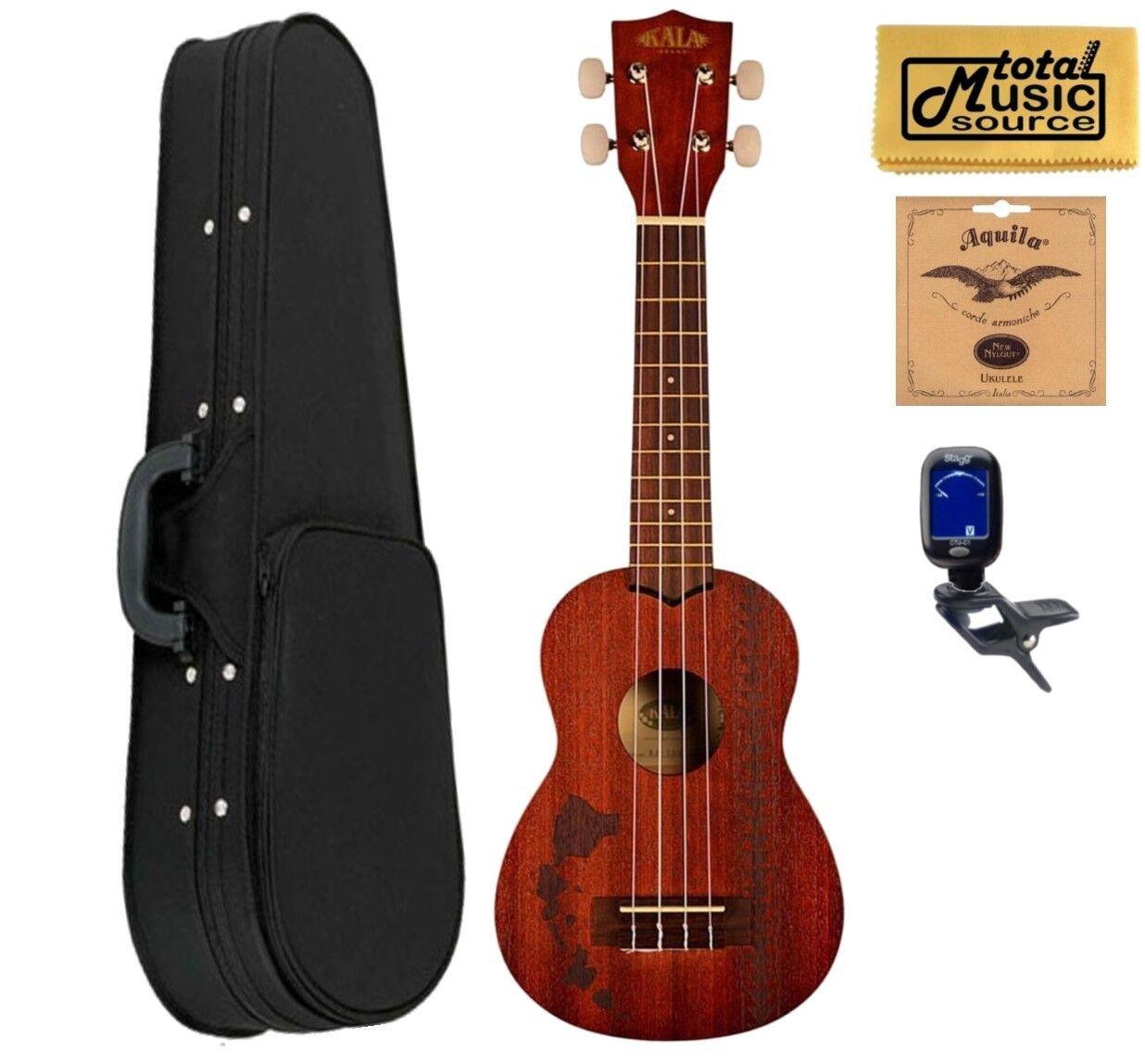 Kala KA-15S-H2 Mahogany Soprano Ukulele Bundle w  Soft Case,Strings,Tuner,Cloth
