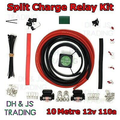 PROFESSIONAL SPLIT CHARGE RELAY KIT 6 METRE 16MM CABLE 140 AMP 12 VOLT RELAY