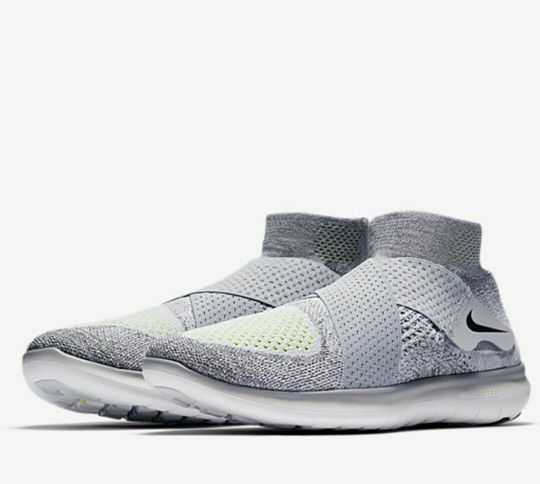 NIKE FREE RN MOTION FLYKNIT 2017 TRAINERS NEW MEN'S SIZE 10.5 GREY/BLACK/VOLT