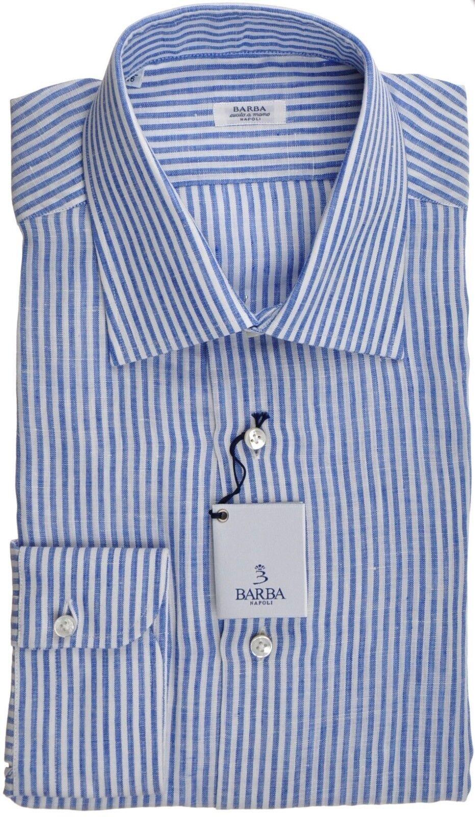 Barba Napoli Dress Shirt Linen 17 43 Blau Weiß Stripe 11SH0178 325