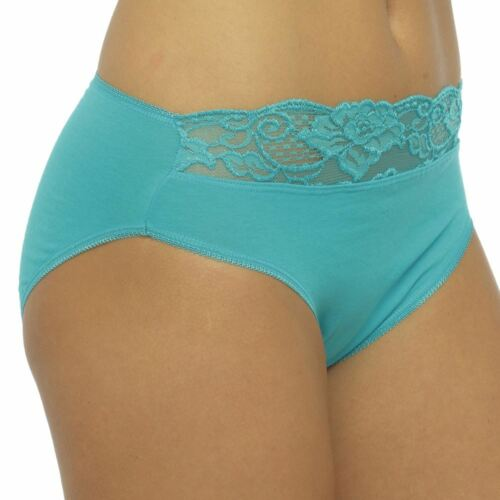 Cotton Underwear Ladies 10 Pack Lace High Leg Briefs Size 12 14 16 18 BR58